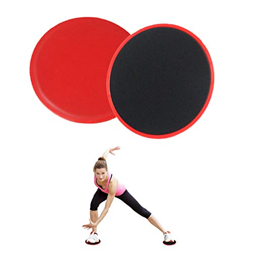 FEimaX Fitness Gleitscheiben 2 Stück Doppelseitige Core Übung Sliders Gliding Discs für Bauch-, Bein- und Ganzkörper, Verwendung auf Teppich- und Holzböden, Tragbarer Krafttrainer (Rot)
