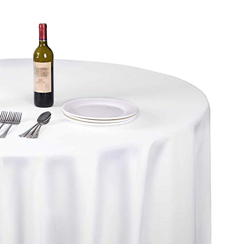 EMART Round Tablecloth, 120 inch Diameter White 100% Polyester Banquet Wedding Party Picnic Circle Table Cloths (6 Pack)