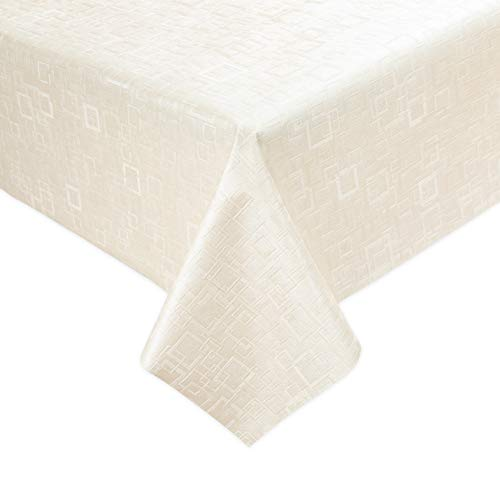 Luxury Table Protector Pad, 2 in 1 Table pad + Great Looking Tablecloth - Heat Resistant, Spill & Stain Proof - Flannel Backing (54x72, Ivory - Square)