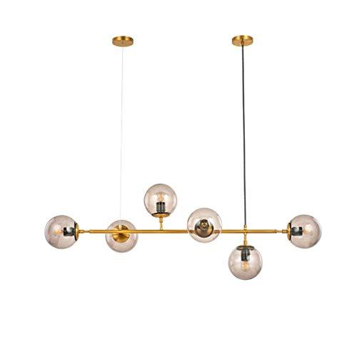Kroonluchten, postmodern glazen bol hanglamp met 6 lampen, plafondophanging van creatieve moleculen woonkamer plafondinbouwlamp, E27, 110-240V