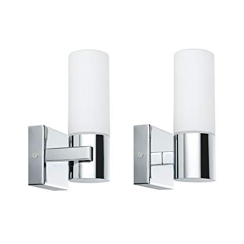 Paulmann 70354 wandlampen Gemini wandlamp IP44 zonder lamp E14-fitting max. 2 x 20 W hallampen, verpakking van 2 wandverlichting, chroom satijn, metaal glas