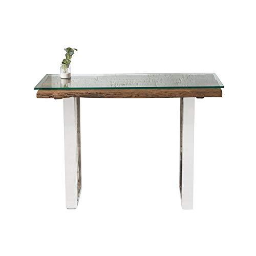 Invicta Interior Massive Konsole Barracuda Teak mit Stahl Kufenfüßen 120 cm mit Glasplatte Glas Massivholz Konsolentisch