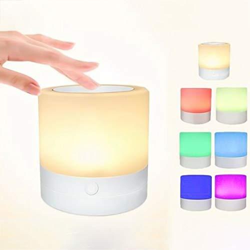 Noah 7 kleuren nachtkastje tafellamp dimbaar Touch Control oplaadbare LED nachtlampje (1)
