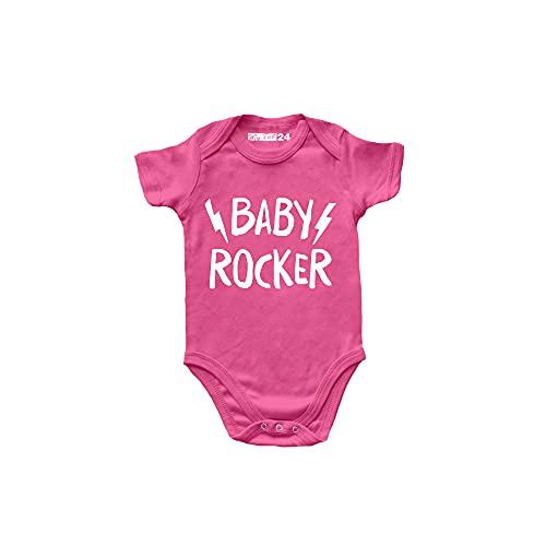 Body de bebé de manga corta Rock – Baby Rocker – Body Rock – Body para bebé unisex 100% algodón transpirable – Body regalo para nacimiento de bebé, Rosa, 6-12 meses