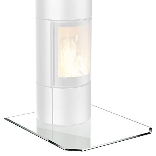 bijon® Glasplatte für Kaminofen Sechseck mit Dichtlippe Glasbodenplatte - Funkenschutzplatte Glas | Kamin Hitzeschutz | 120 x 100 cm – 8 mm ESG Kamin-Bodenplatte