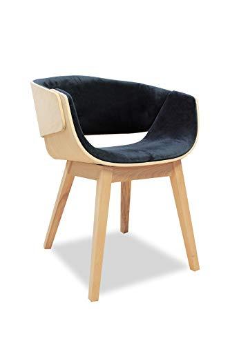 Meubletmoi Designersessel aus Holz und Velours, moderner Stil – die Eleganz & Qualität – Spoon