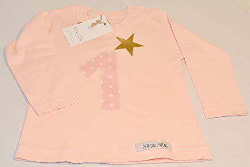 Der Wollprinz Geburtstagsshirt für Kinder mit Zahl, Kindershirt mit der Zahl 1 T-Shirt mit der Zahl 1 in hellrosa mit der Zahl 1 in rosa langarmig