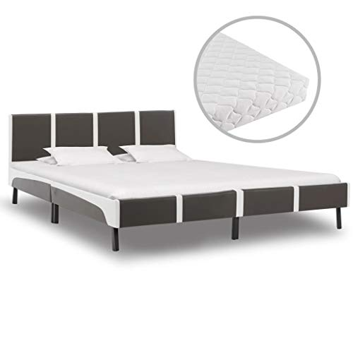 UnfadeMemory Bed Frame with 17 cm Thick Mattress Faux Leather Bed Classic Upholstered Bed Frame Faux Leather Covered Bed Iron Frame and Steel Legs (Grey and White, 160 x 200 cm)