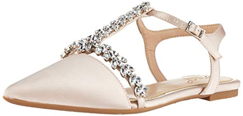 Jewel Badgley Mischka Women's RAE Shoe, Champagne Satin, 8 M US