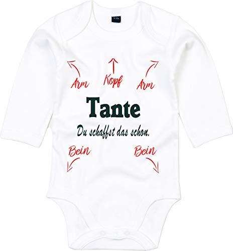 Mister Merchandise Baby Body Papa Mama Oma Opa, je creëert dat al wikkelen rompers bodysuit liefdevol bedrukt Weiß - Langarm : 6-12 Monate : 66-76cm Tante