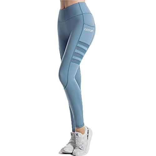 COTOP Leggings de Sport Femmes, Pantalons de Yoga avec Poches, Pantalons de Course Amincissant Taille Haute Peuvent être Utilisés pour Le Fitness, Le Cyclisme, Le Pilates (Bleu, L)