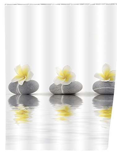 WENKO Duschvorhang Stones with Flower, Textil-Duschvorhang fürs Badezimmer, inkl. Ringen zur Befestigung an der Duschstange, waschbar, 100 prozent Polyester, 180 x 200 cm, mehrfarbig