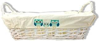 DISOK - Cesta Rectangular Mimbre Blanca Buho Azul - Cestas de Mimbre para Detalles de Boda, Bautizos. Cestas para Llevar Regalos, regalitos Recuerdos Detalles