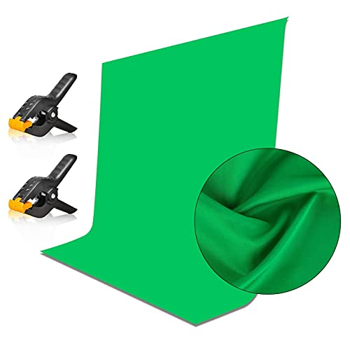 Emart 5x7ft Green Screen Backdrop, Polyester Wrinkle-Resistant Curtain Fabric, Chroma-Key greenscreen Cloth Sheet for Zoom, Including 2 Spring Clamps Suitable for Photoshoot, Interview, Live Stream