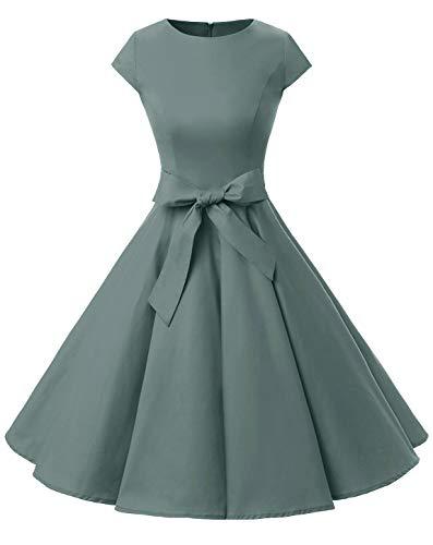 """Dressystar-Kleid """"Audrey-Hepburn"""", klassisches Retrodesign, im Stil der 50er- und 60er Jahre ohne Ärmel Gr. Large, grau"""