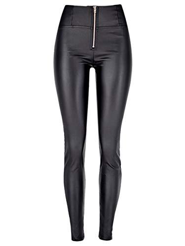 ebossy Women's Zip Fly High Waist Butt Lift Stretch Skinny Yoga Jeans Denim Leggings (10, Leather Black)