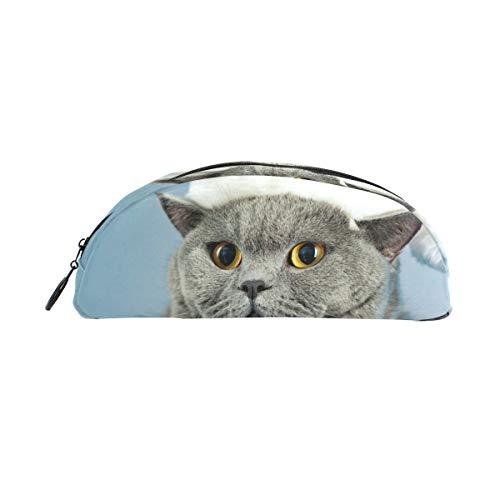 Customize - Estuche para bolígrafos (forma de concha semicircular, diseño de gato con gorro y lápiz, gran capacidad, para maquillaje, cosméticos, escuela, oficina, viaje)