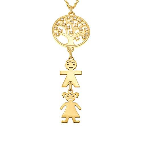 Collar familiar personalizado Collar con nombre Árbol genealógico y colgante para niños Collar de mujer Navidad para mamá(Dorado 24)