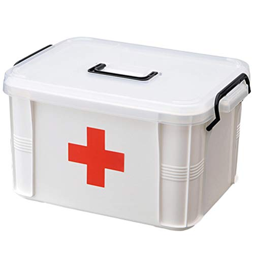 Yarnow First Aid Box Medicine Storage Box with Handle Plastic Family Emergency Medicine Boxes Health Case (Extra Large)