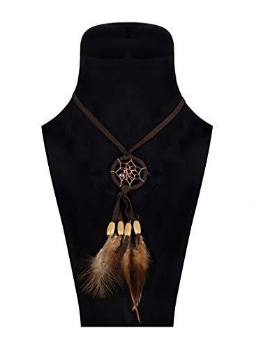 Jannes 2817 Indianerkette mit Traumfänger Wilder Westen Wild West Indianer Indianerin Native American Apache Feder-Schmuck Falke Einheitsgröße Braun