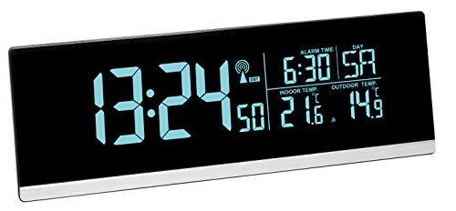 TFA Dostmann Multi-Color Réveil numérique Radio-piloté avec Changement de Couleur et température extérieure, Plastique, Noir, L 225 x l 70 x H 115 mm