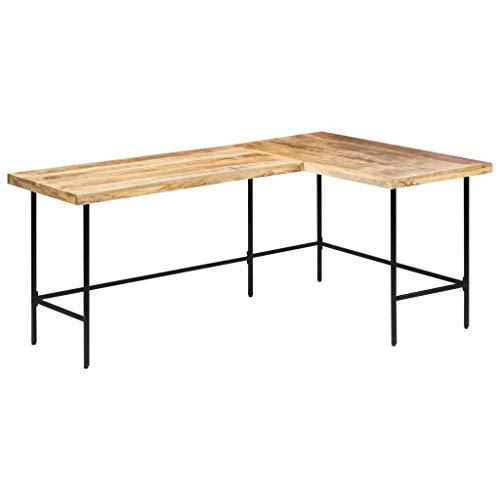 vidaXL Mangoholz Massiv Schreibtisch Bürotisch Eckschreibtisch Computertisch Arbeitstisch Winkelschreibtisch PC Tisch Büro 120x60x76cm Stahl