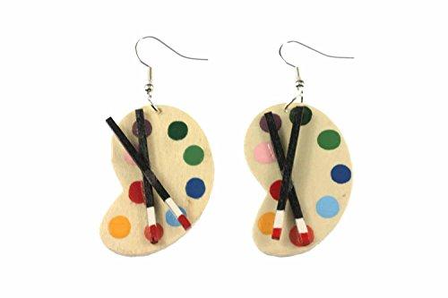 Miniblings Palette Malpalette Malerin Ohrringe - Handmade Modeschmuck I Malerpalette Farben Schule - Ohrhänger Ohrschmuck versilbert