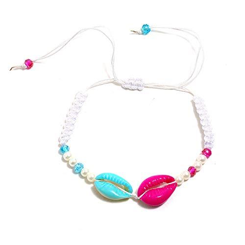 2 uds.Pulsera de Borla de Color de Concha de Perlas Tejida a Mano Americana Accesorios para niños