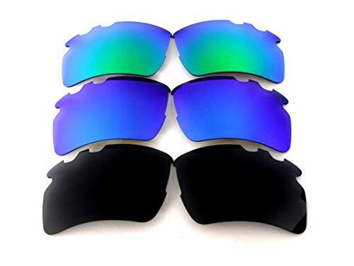 Galaxy vervangende lens voor Oakley Flak 2.0 XL Geventileerde zonnebril zwart/blauw/groen gepolariseerd