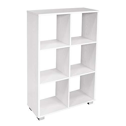 Mediawave Store - Libreria in Legno Kubo Libreria a caselle con 6 Ripiani e Piedini per spostamenti Facili, Design Moderno, a Forma di Cubi Aperti,Scaffale di Legno, Arredo Casa o Ufficio (Bianco)