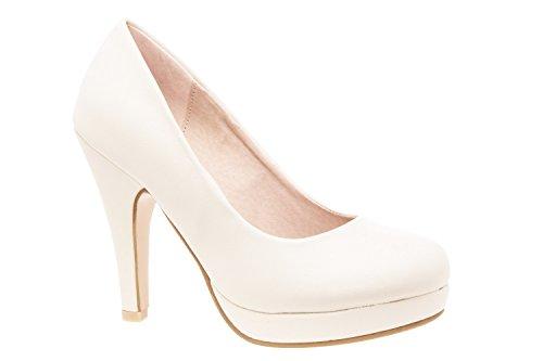 Elegante Pumps aus beigem Lederimitat für Damen/Mädchen mit 10,0 cm Absatz, Plateau und runder Spitze – Hohe Schuhe/High-Heels – AM554 – EU 45