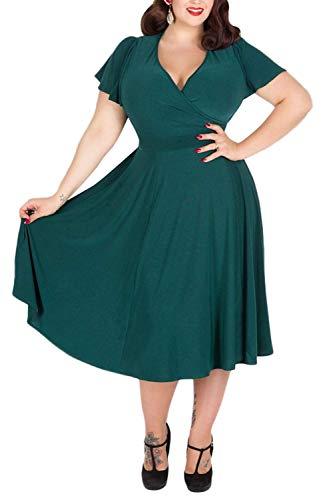 Nemidor Brautjungfer-Kleid mit V-Ausschnitt, Dehnbares Material, leger, große Größe Gr. 48, grün