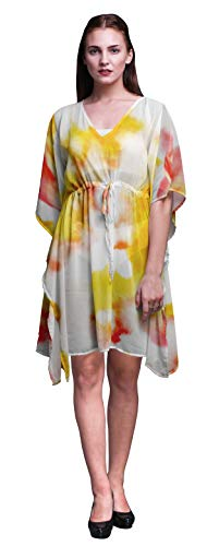 Bimba Yellow2 Tie-Dye Light Ladies Kaftan Holiday Loungewear Midi Dress Beach Coverup-XL-3X