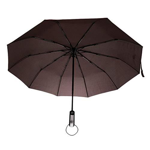IPOTCH Schirm Regenschirm Sturmfest Unisex Kompaktschirme Auf-Zu Automatik Regenschirm Taschenregenschirm für Regen - Kaffee