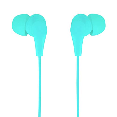 Axilleo S-02 in-Ear Wired Earbuds/Earphone with Microphone | Noise Cancelling Headphones with 3.5mm Jack for iPhone, Laptop, Computer, Apple, iPad, PC (Green or Cyan)