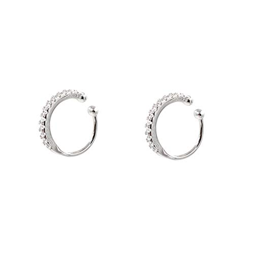 Fake Hoop Earrings CZ Cubic Zirconia Cartilage Earring 925 Sterling Silver Earrings Ear Cuff Huggie Dainty Minimal Conch Piercing Non Pierced Ear Pods Clip on Earrings for Women Girls Silver