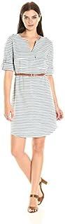 Sharagano Women's Belted V Neck Stripe Shirt Dress
