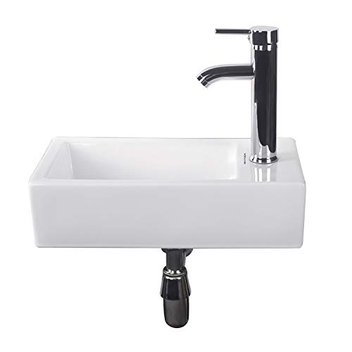 Walcut Bathroom Samll Wall Mount Sink, Rectangle Corner White Porcelain Ceramic Vessel Sink & Chrome Faucet Combo Lavamanos Bathroom