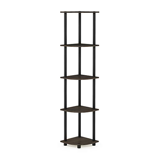 Furinno 99811db-wg/BK Vetas Turn-n-Tube 5 Tier estantería para Esquina, de Color marrón Oscuro/Negro