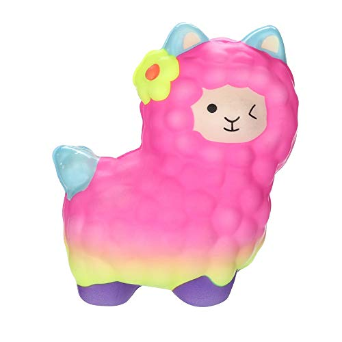 Mikilo Jumbo Squishy Kawaii Fun Sheep Cream Scented Squishies Slow Rising Squeeze Toys for Kids Boy Girl Stress Relief Toy Alpaca (Pink)