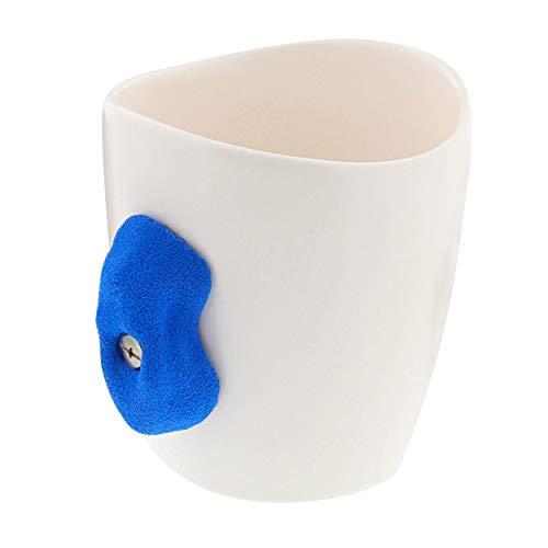 ¡Fuera! Soporte para taza de escalada en roca con mango azul, 473 ml, taza engarzada para café – para usuarios zurdos y diestros