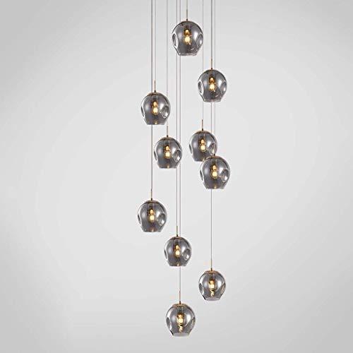 Iluminación de 10 bolas de vidrio en espiral escalera larga lámpara lámpara...