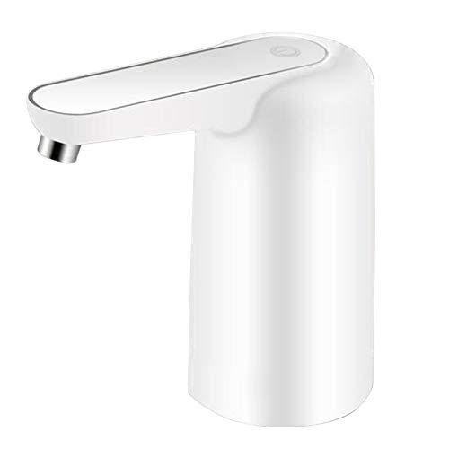 Justech Dispensador de Agua Eléctrico Recargable de USB con Luz Nocturna Bomba de Botella de Agua Blanca con Cable USB Dispensador Agua Portátil con 2 Tapas para Hogar Casa Oficina Coche Camping