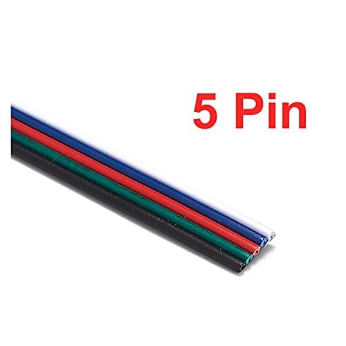 LZHAI® 2/3/4 / 5pin DIRIGIÓ Cable De Conector Alambre Eléctrico 2 2AWG 20AWG 18AWG Cable De Cable De 5/10/20/50 / 100m para 3528 2835 RGB LED Banda (Color : 5 Pin, Connector Type : 18AWG)