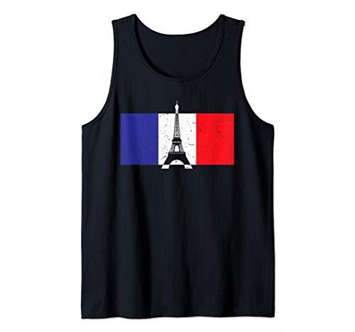 Witziges Frankreich T-Shirt - Eiffelturm Paris Franz. Fahne Tank Top