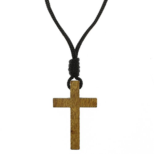 Intercession Wood Cross Crucifix on Cord - Made in Brazil (2 Inches)