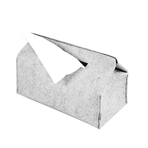 Divfaion Caja de pañuelos Bandejas del hogar Simple Lana Fieltro Tejido Caso Negro/Gris Color sólido Coche Papel Toalla de bombeo Contenedor