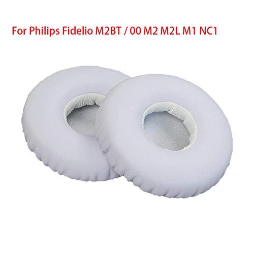 Over-Ear oordop lederen hoesje oortelefoon Sponge Cover, vervanging-compatibel met Philips Fidelio M2Bt / 00 M2, M2L, M1, Nc1, Kleur: wit