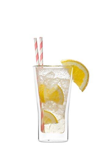 YEM Juego de 6 vasos térmicos de doble pared de 350 ml, para latte macchiato, cócteles, postres, té