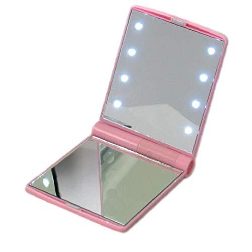 shentaotao 8 Led Espejo De Maquillaje Iluminado Espejo De Cosmética Plegable De Afeitar En El Hogar O En Movimiento, Incluyendo La Batería Rosa De La Belleza Y Sorprendente